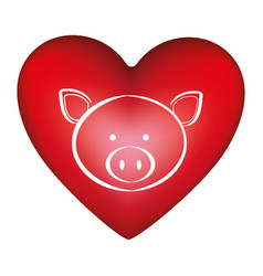 Red heart shape with silhouette face cute pig vector
