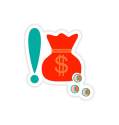 Stylish sticker on paper bag money and coins vector