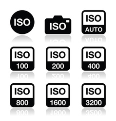 Iso - camera film speed standard icons set vector