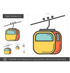 Cable railway line icon vector
