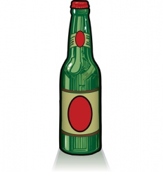 Old style green beer bottle vector