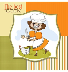 best cook certificate with funny cook who runs a vector image