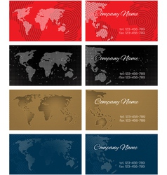 Set of halftone bussines cards with continents for vector image