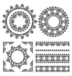 Vintage ornaments and frames - set vector