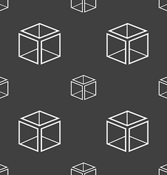 3d cube icon sign seamless pattern on a gray vector