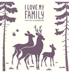 deer family vector image