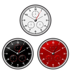 Watches dials with different face colours over whi vector