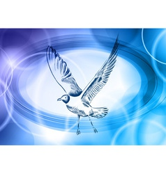 seagull on the blue background vector image