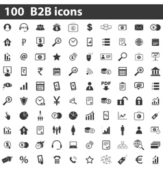 100 b2b icons set vector