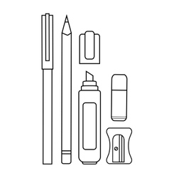 Stationery writing tools set contour vector