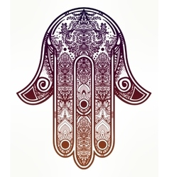 Ornate hamsa hand luck amulet vector