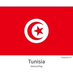 National flag of tunisia with correct proportions vector
