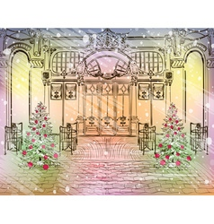 Old City Cafe with Christmas Decorations vector image