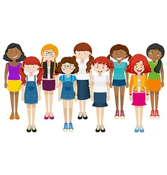 Group of happy woman standing together vector