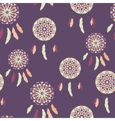 Retro seamless pattern with freehand dreamcatchers vector