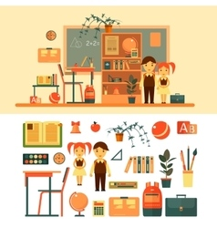 Set of school related objects isolated on vector