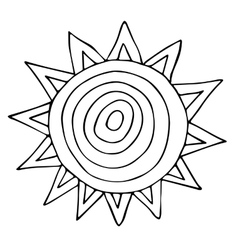 Abstract sun sketchy hand drawn doodle black and vector