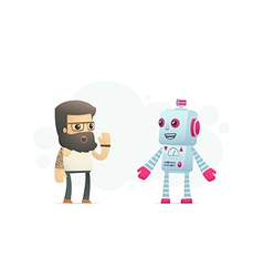 Artist communicates with robot vector