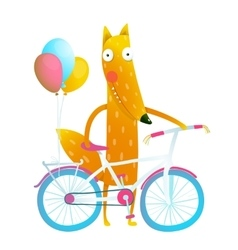 Cartoon red funny fox with bicycle and balloons vector image