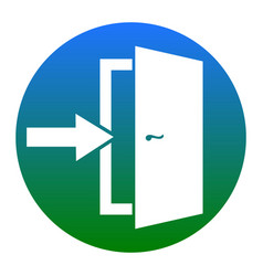 Door exit sign white icon in bluish vector