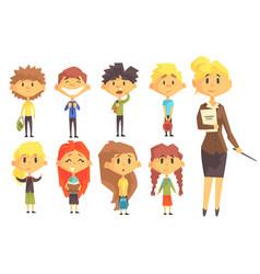 Elementary school group of schoolchildren with vector
