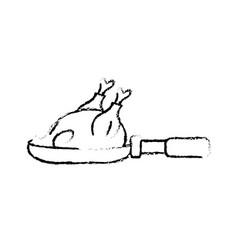 Figure delicious chicken inside skillet pan vector