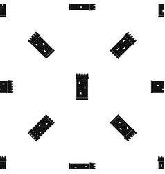 Fortress tower pattern seamless black vector