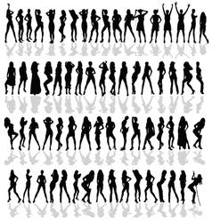 Girl in various poses black silhouette vector