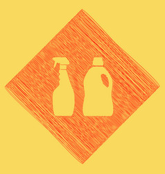 Household chemical bottles sign red vector