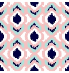 Ikat geometric seamless pattern Pink and blue vector image vector image