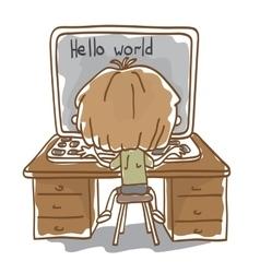 Little boy programs on a laptop vector