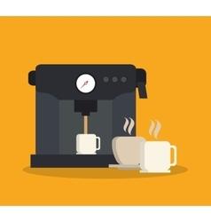 Machine and mug of coffee shop design vector