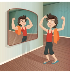 Man flexing his muscles vector
