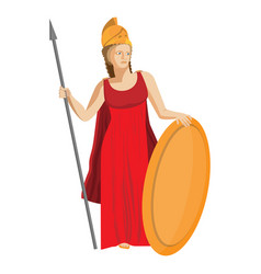 mythological greek athena holding spear and shield vector image vector image