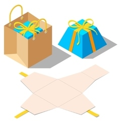 Opened and closed present gift boxes with ribbon vector