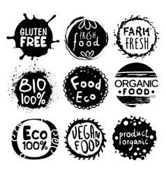 Organic Bio Food Black And White Label Set vector image vector image