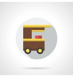 Popcorn cart flat round icon vector