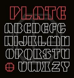 Sans serif geometric contour font vector image