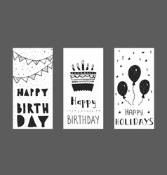 set of birthday greeting cards design vector image