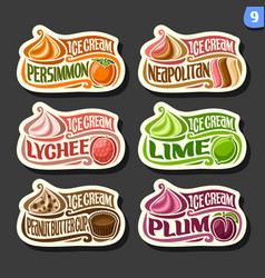 set of fruit ice cream labels vector image