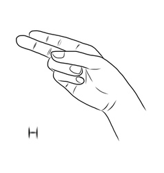 Sign language and the alphabetthe letter h vector
