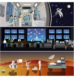 Space mission control center Rocket launch vector image vector image