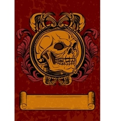 the skull in retro style with vector image vector image