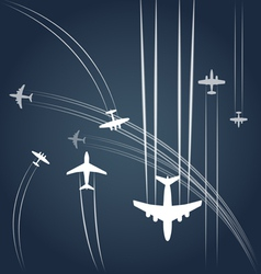 Transport and civil airplanes paths vector image vector image