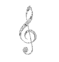 Treble clef sign made up from black music notes on vector image