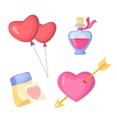 Valentine s day stylish icons set Cartoon style vector image