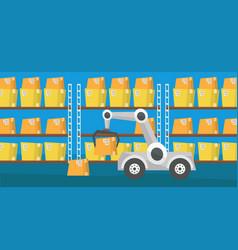 Warehouse transportation robot vector