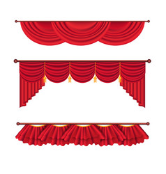 Wide red drapes and lambrequins set vector
