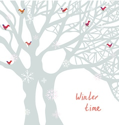 Winter time Christmas card with tree and birds vector image vector image