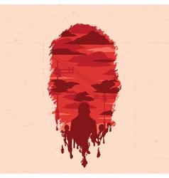 Zombie head silhouette vector